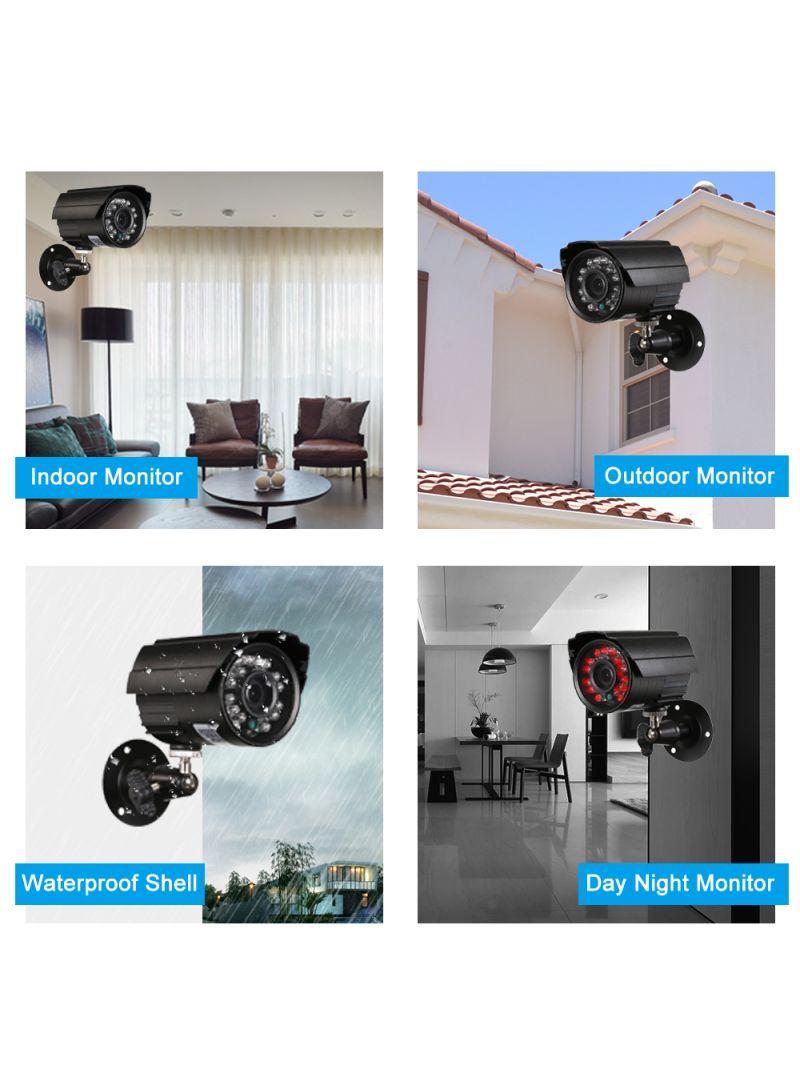 4-Piece 1080P AHD Waterproof IR CCTV Bullet Camera Set Black 2.37 kg