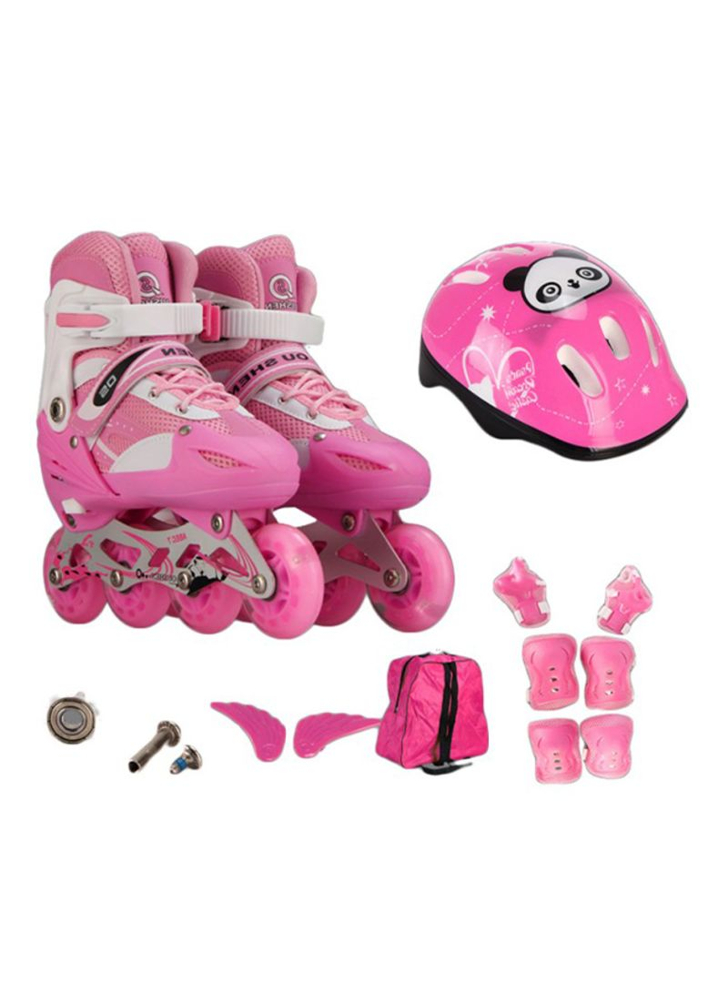 Full Flashing Roller Skate Shoes with Protective Suit For Kids Girls & Boys 32-37