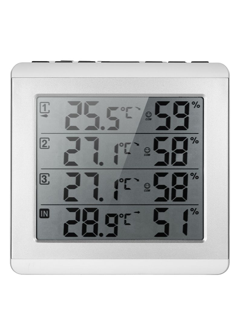 LCD Digital Wireless Indoor And Outdoor Thermometer Grey