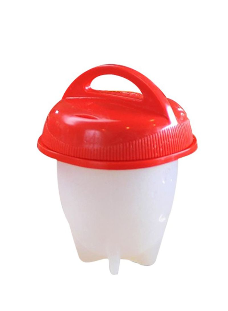 Silicone Hard Soft Eggs Boiler  Without  Shell White/Red 3.35 x 2.56 x 2.56 inch