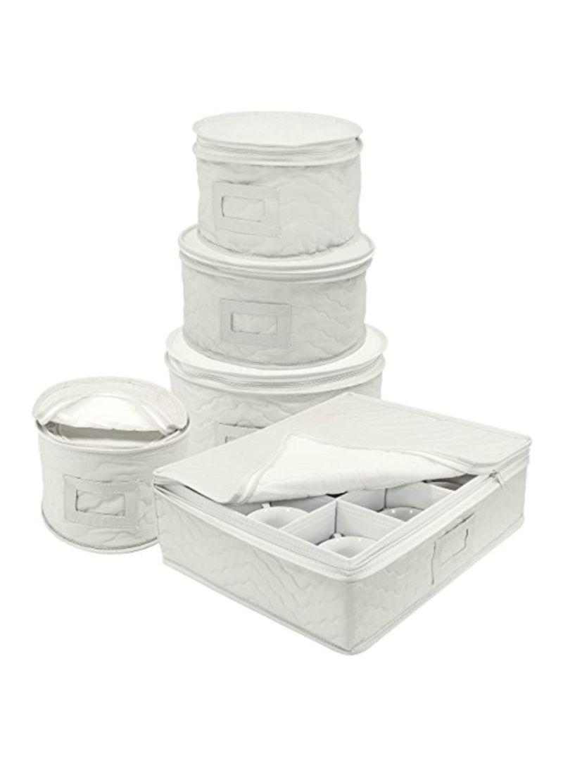 5-Piece Dinnerware Storage Set White