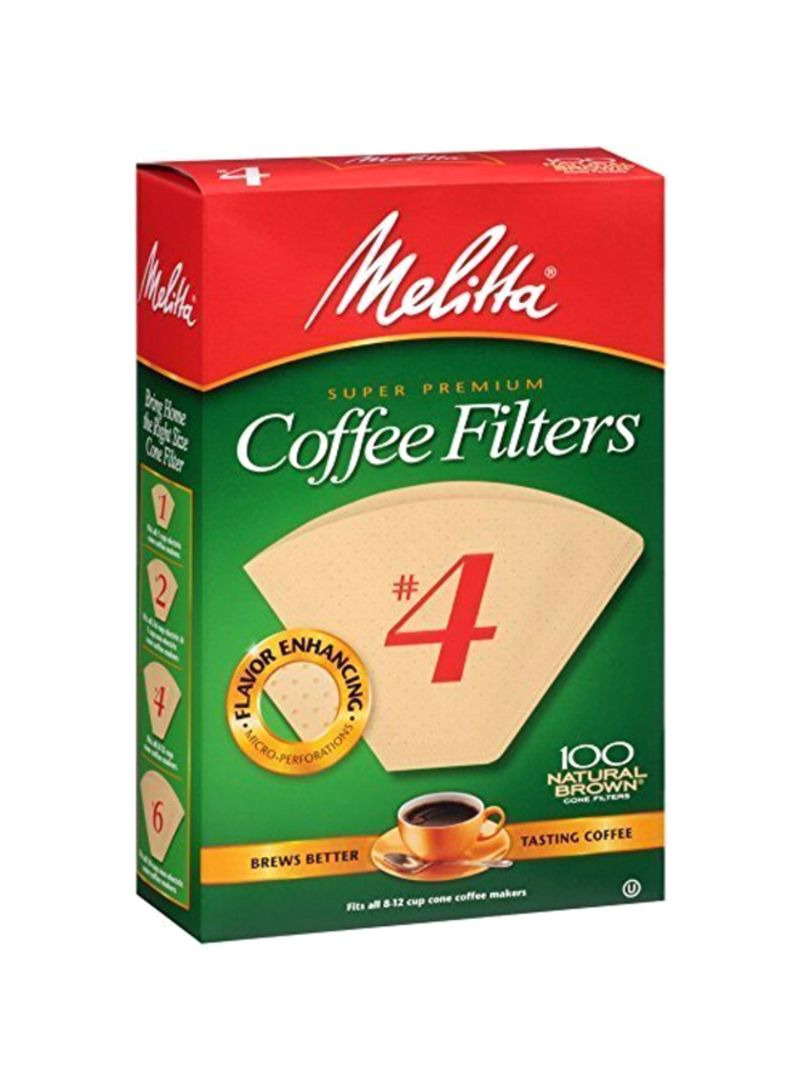 100-Piece Cone Coffee Filters - No. 4 Beige