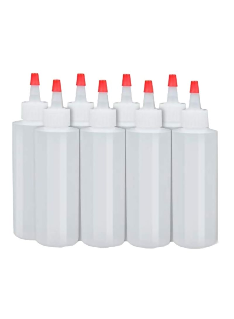 8-Pack Squeeze Condiment Bottles White/Red