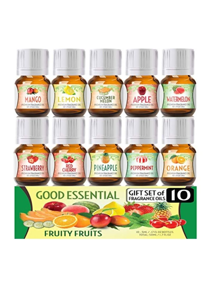 Pack Of 10 Fruity Fruits Fragrance Oil Set 0.17 ounce