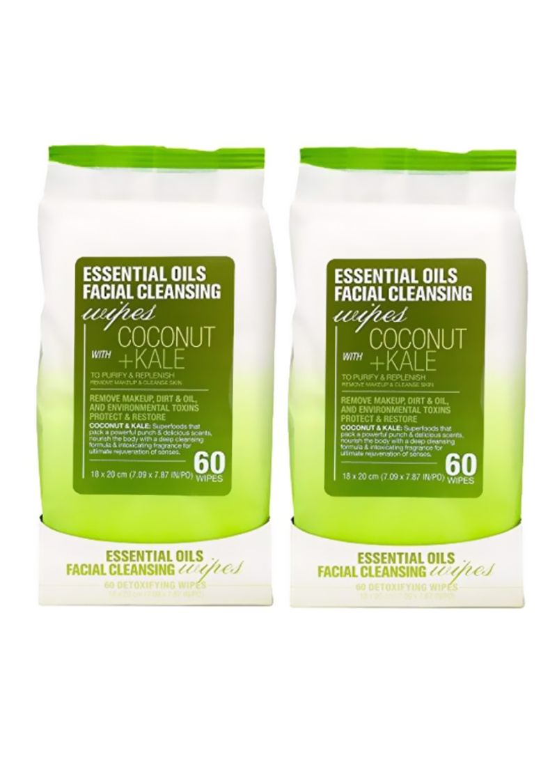Pack Of 2 Essential Oils Facial Cleansing Wipes With Coconut And Kale