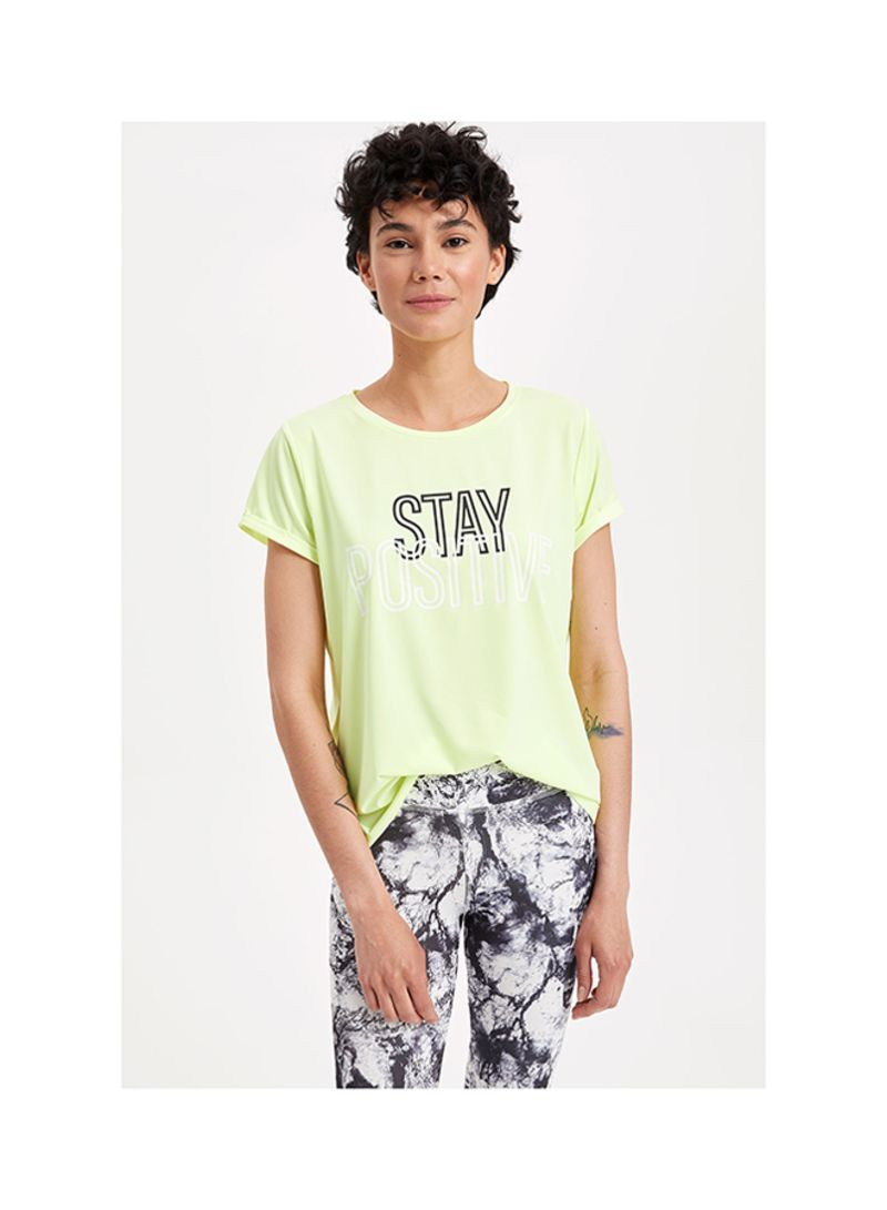 Text Printed Sports T-shirts Yellow
