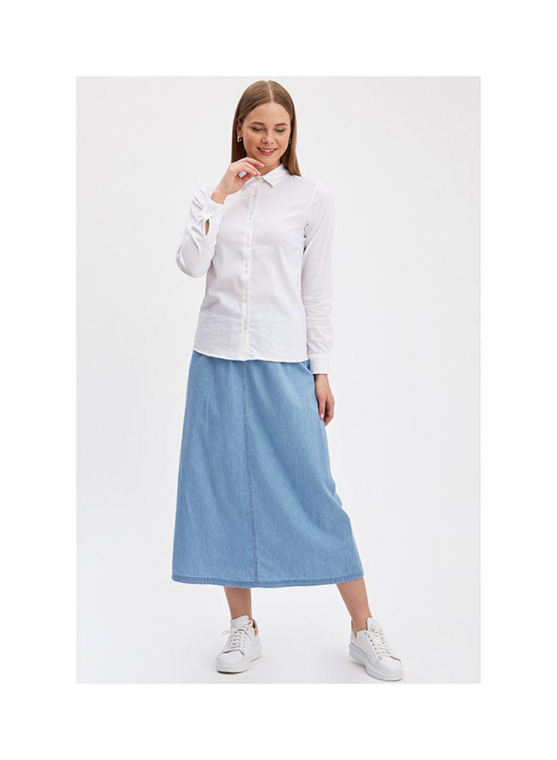 Long Denim Skirts LT.BLUE