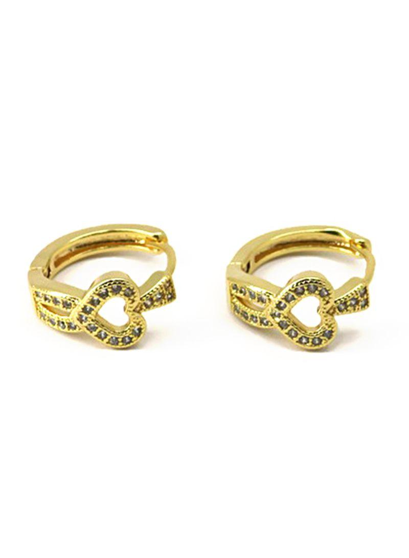 Gold Plated Zircon Hoops Earrings