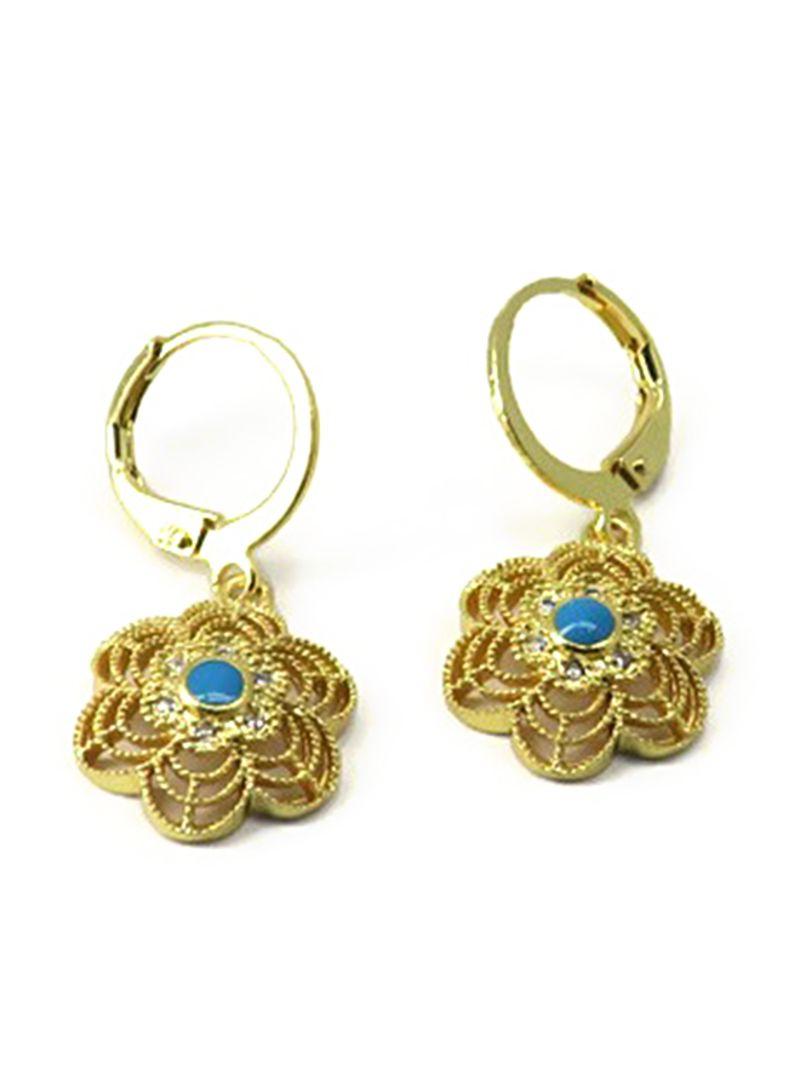 Gold Plated Zircon Dangle Earrings