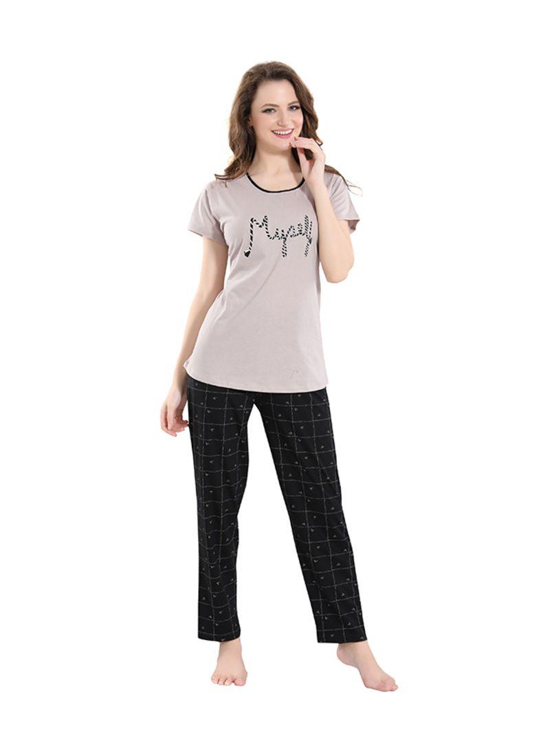 Sleepwear Pyjama Set Grey/Black