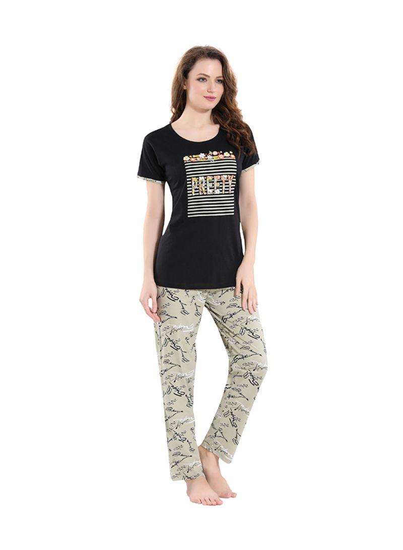Sleepwear Pyjama Set Black/Beige