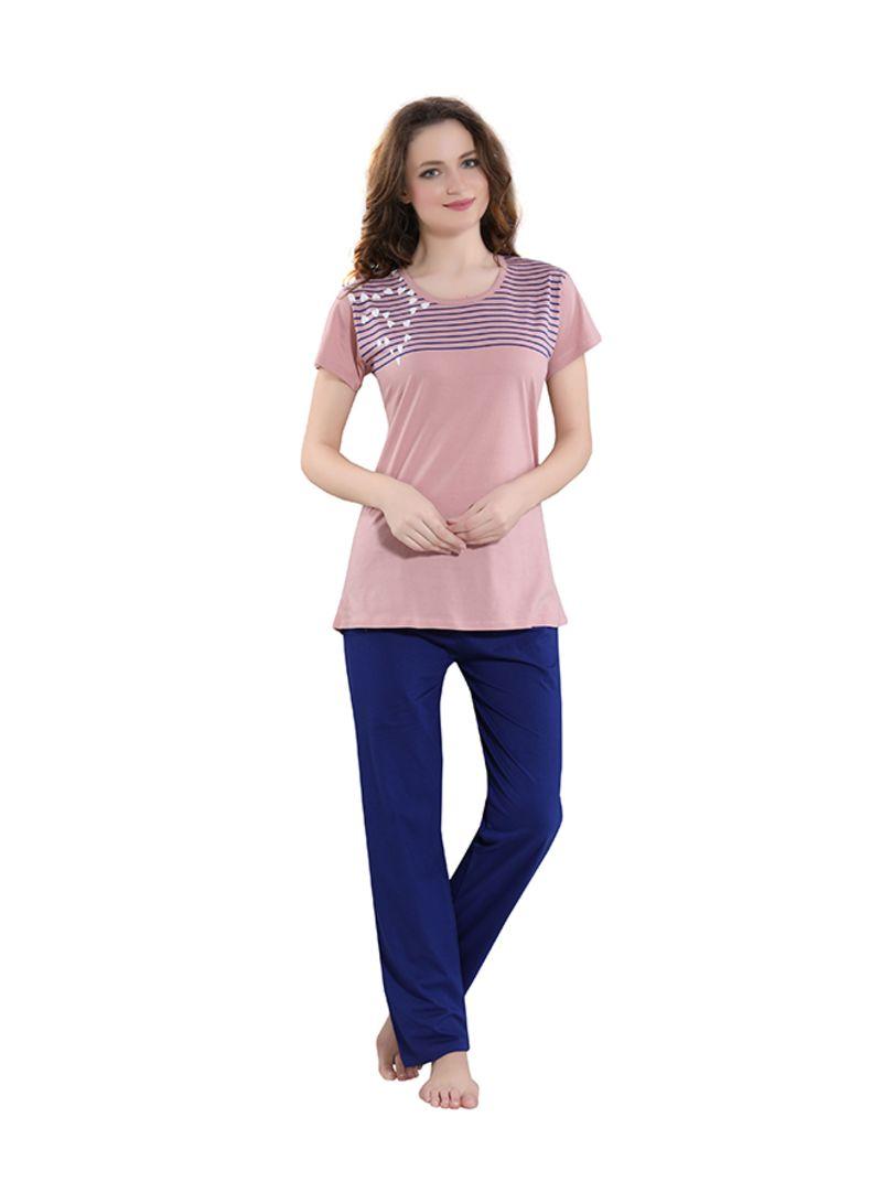 Sleepwear Pyjama Set Peach/Blue