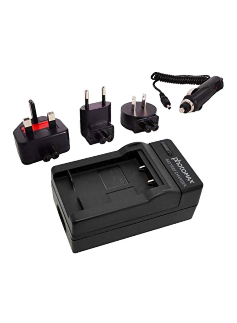 Battery Charger With Travel Plug Black