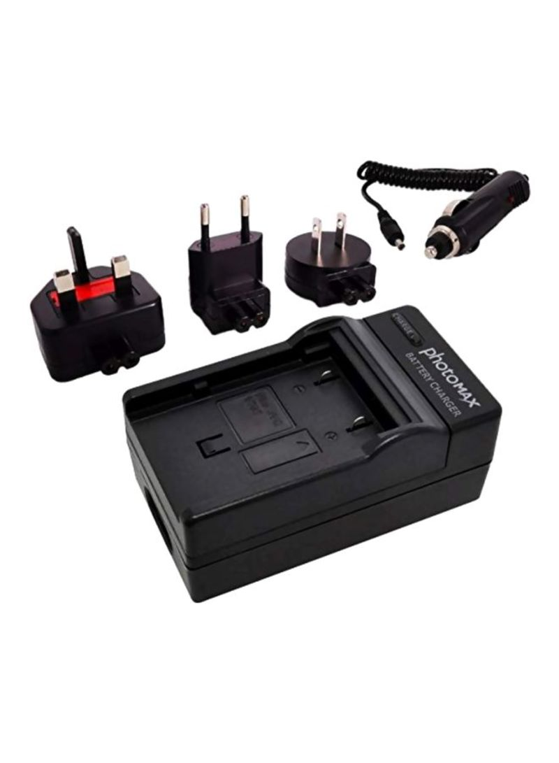 Camera Battery Charger With Travel Plug Set Black