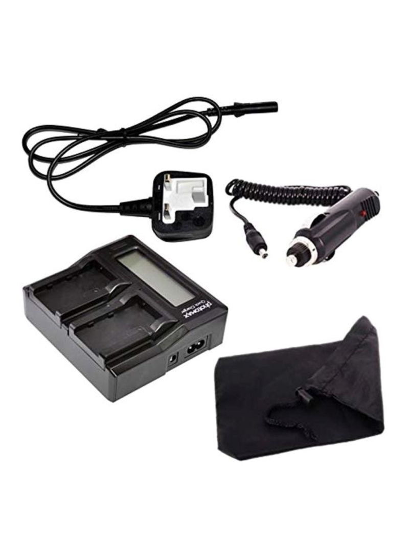 2-In-1 Digital LCD Dual Camera Battery Chargers Black