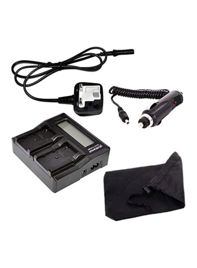 2-In-1 Digital LCD Dual Camera Battery Chargers For JVC BN-107 BN-107U BN-114U Black