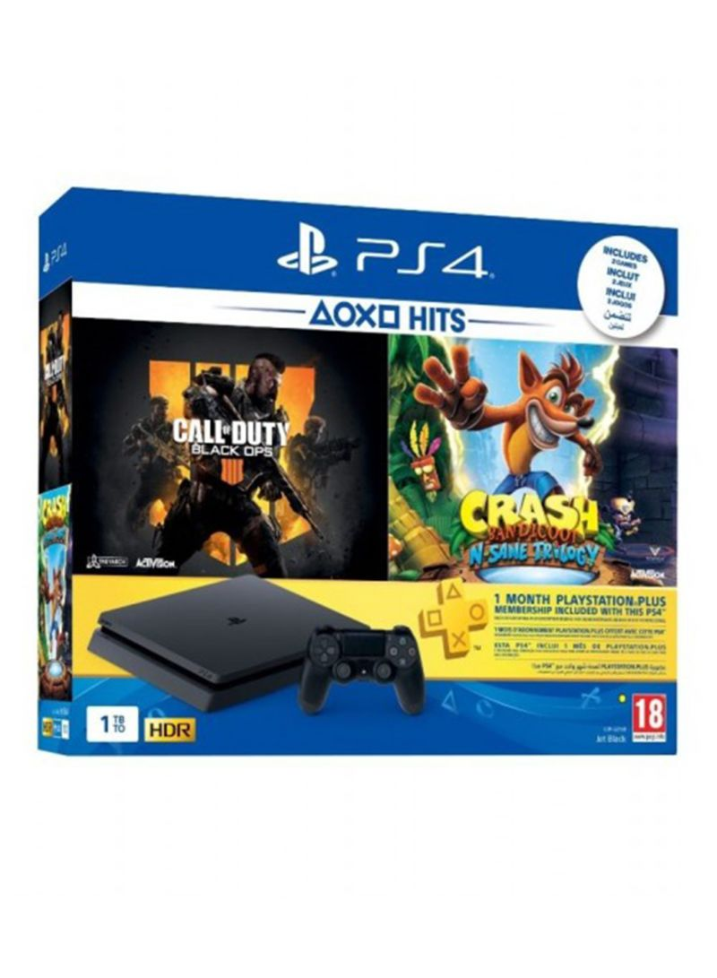 PlayStation 4 1TB Console With 2 Games (Call Of Duty Black Ops 4, Crash Bandicoot N. Sane Trilogy) + 1 Months PS Plus Membership