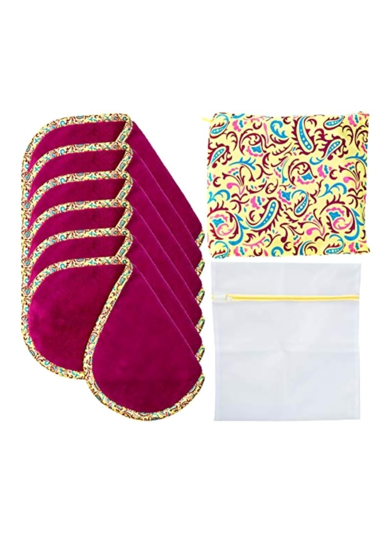 6-Piece Makeup Remover Towel Set Red/Yellow/White