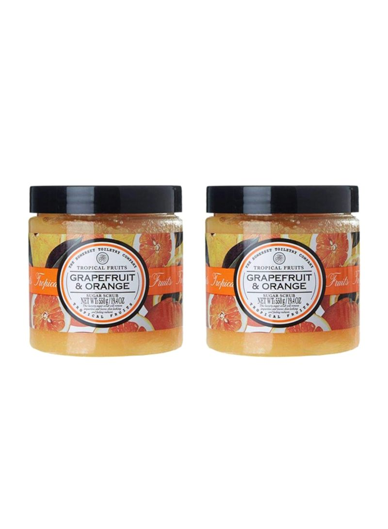 Pack Of 2 Tropical Fruits Grapefruit And Orange Body Sugar Scrub Yellow 38.8 ounce