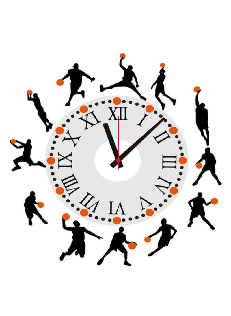 Basketball Design Sticker Wall Clock Black/White/Orange 15 centimeter