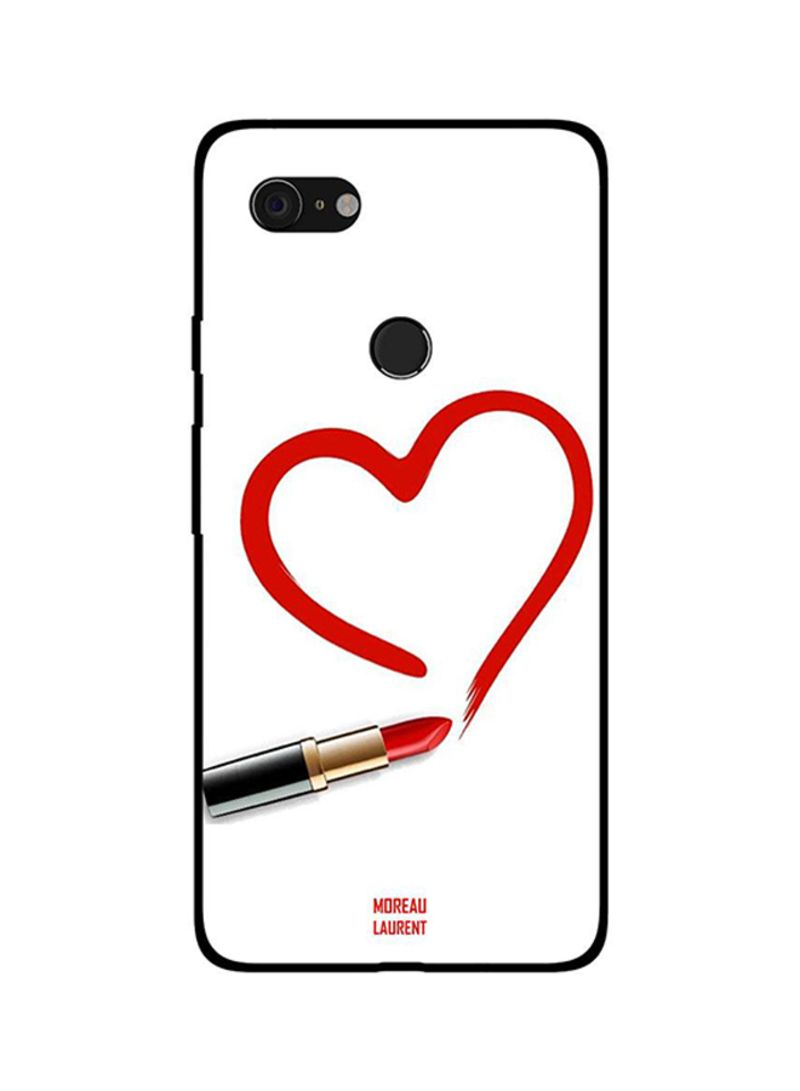 Protective Case Cover For Google Pixel 3 Draw Heart with Lipstick