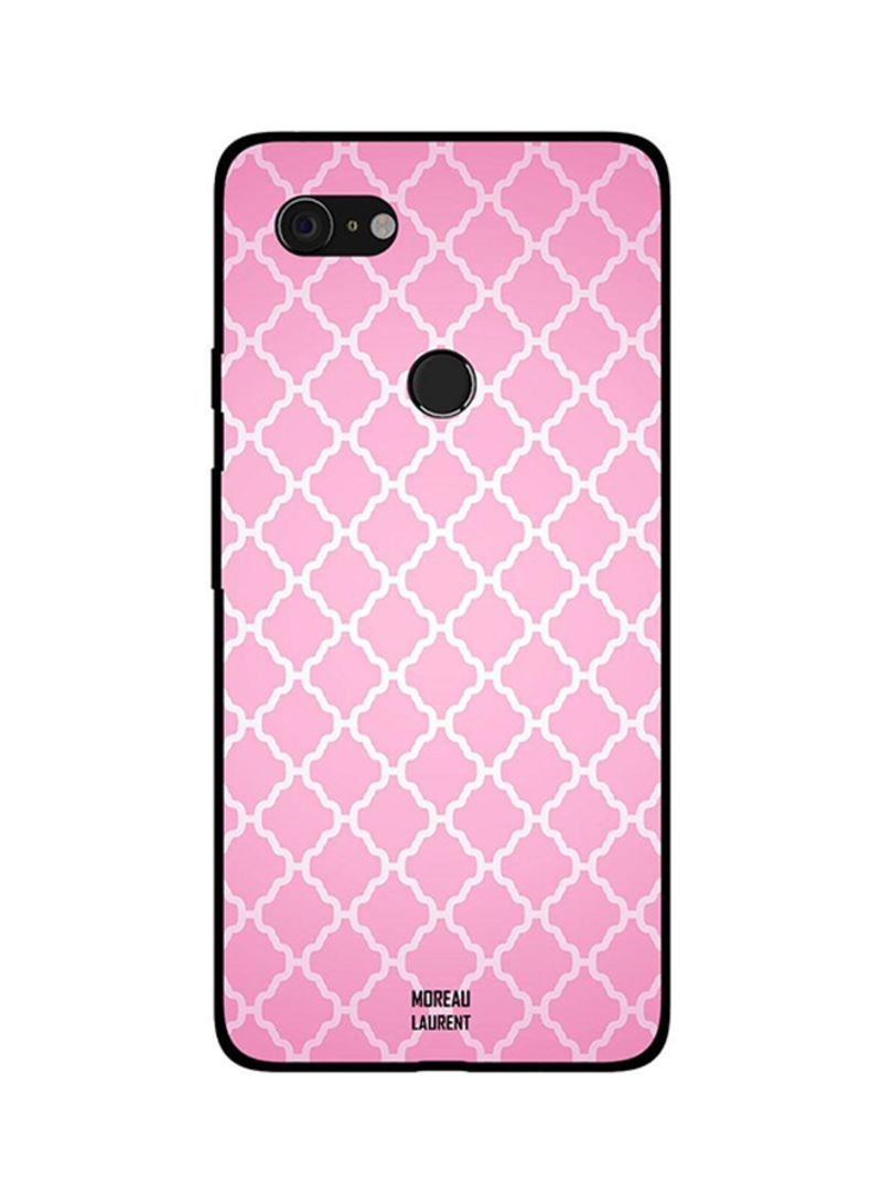 Protective Case Cover For Google Pixel 3 White Design on Pink Pattern