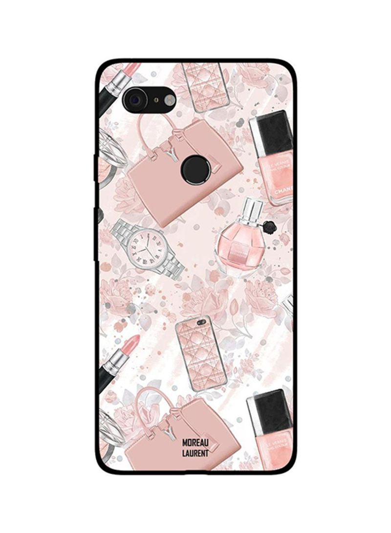 Protective Case Cover For Google Pixel 3XL Cream Pink Makeup Items
