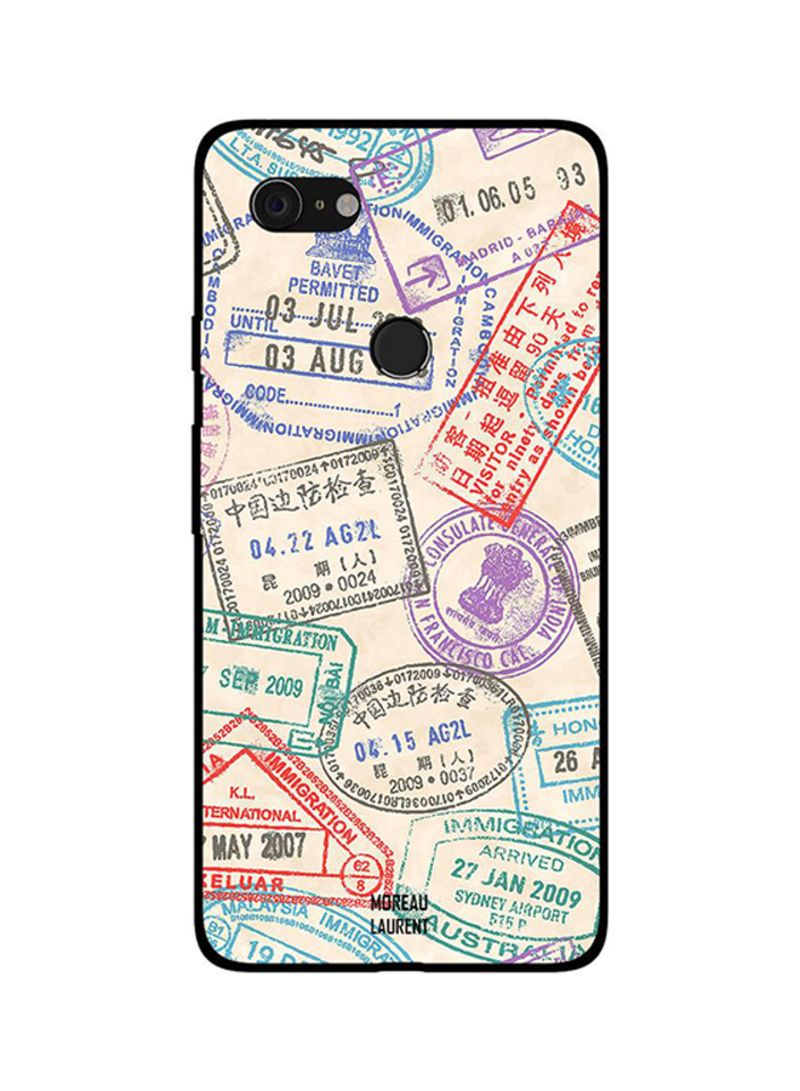 Protective Case Cover For Google Pixel 3XL Travel Stamps