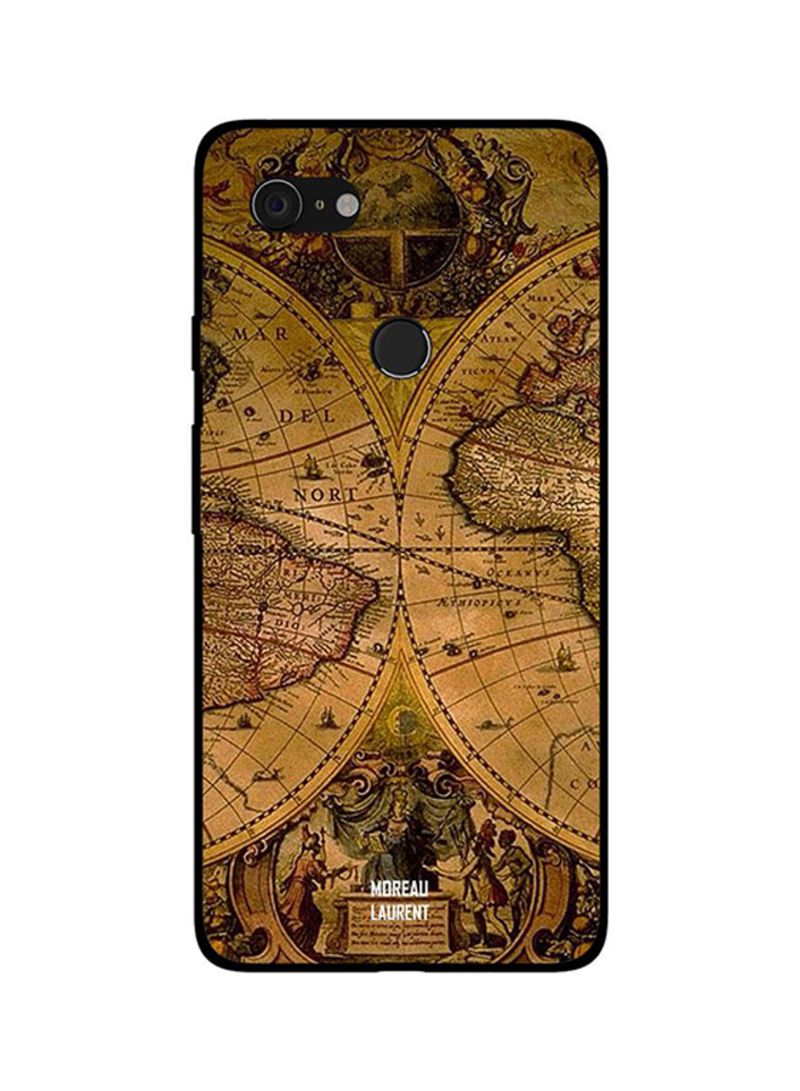 Protective Case Cover For Google Pixel 3XL Vintage Travel Map