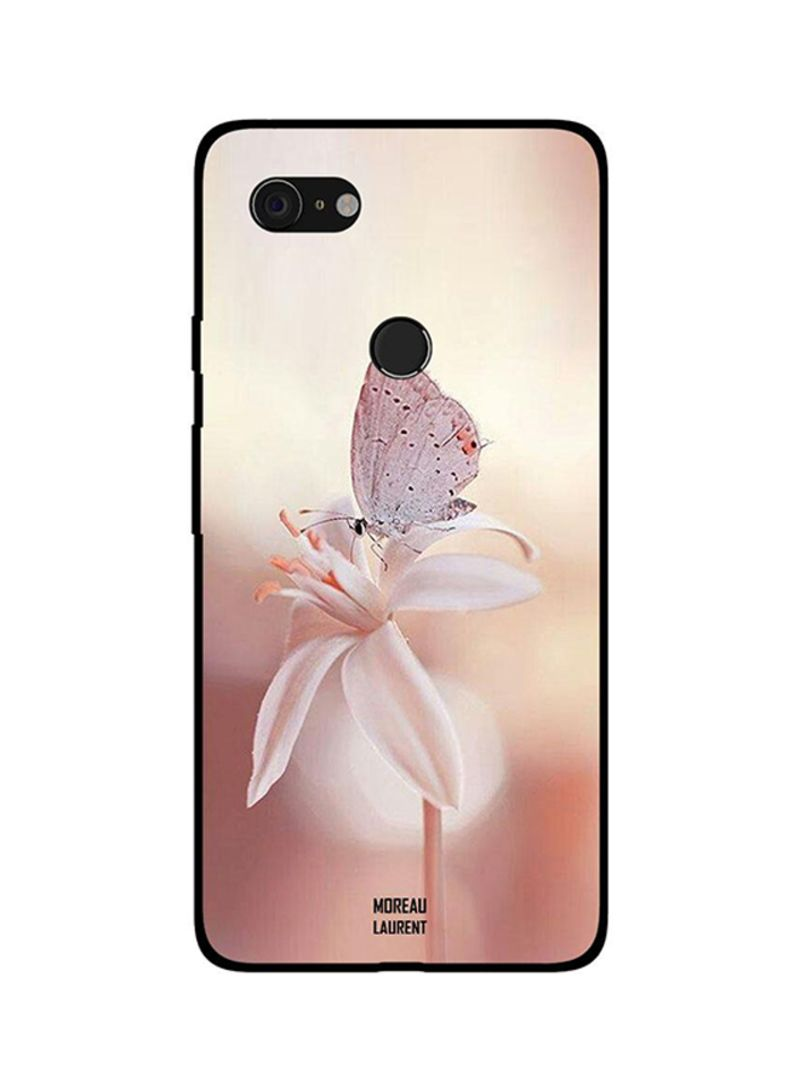 Protective Case Cover For Google Pixel 3XL Cream Butterfly and Flower