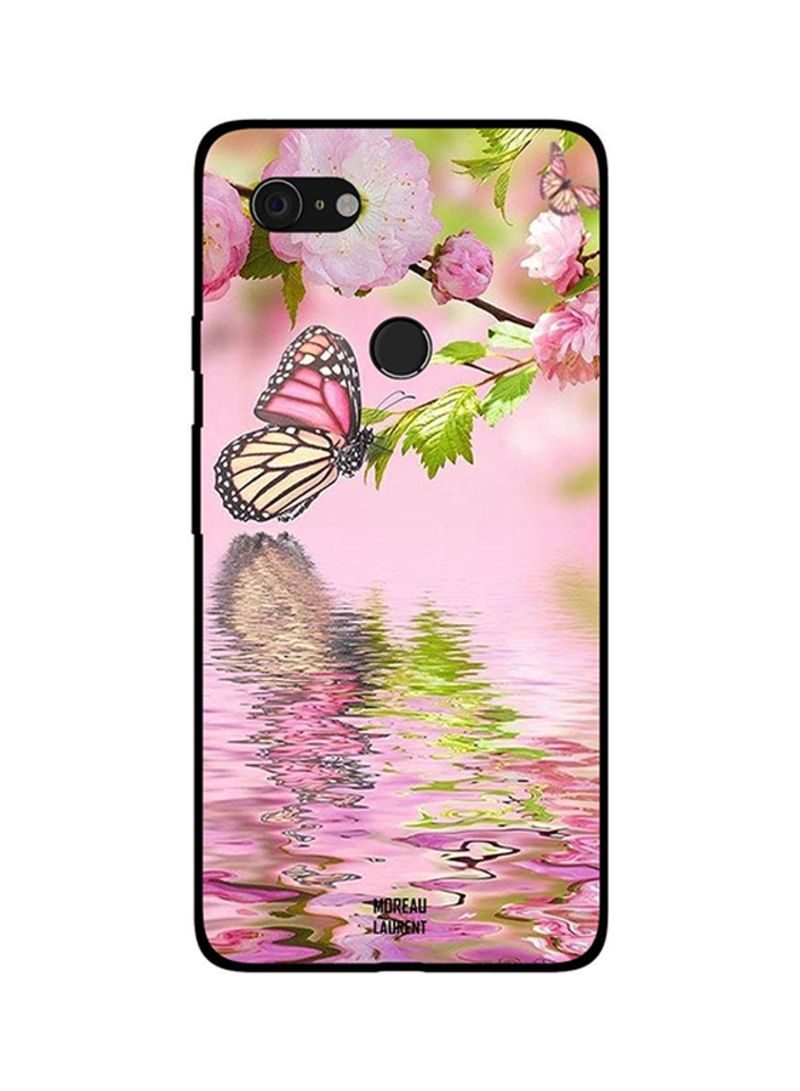 Protective Case Cover For Google Pixel 3XL Butterfly with Reflection on Water