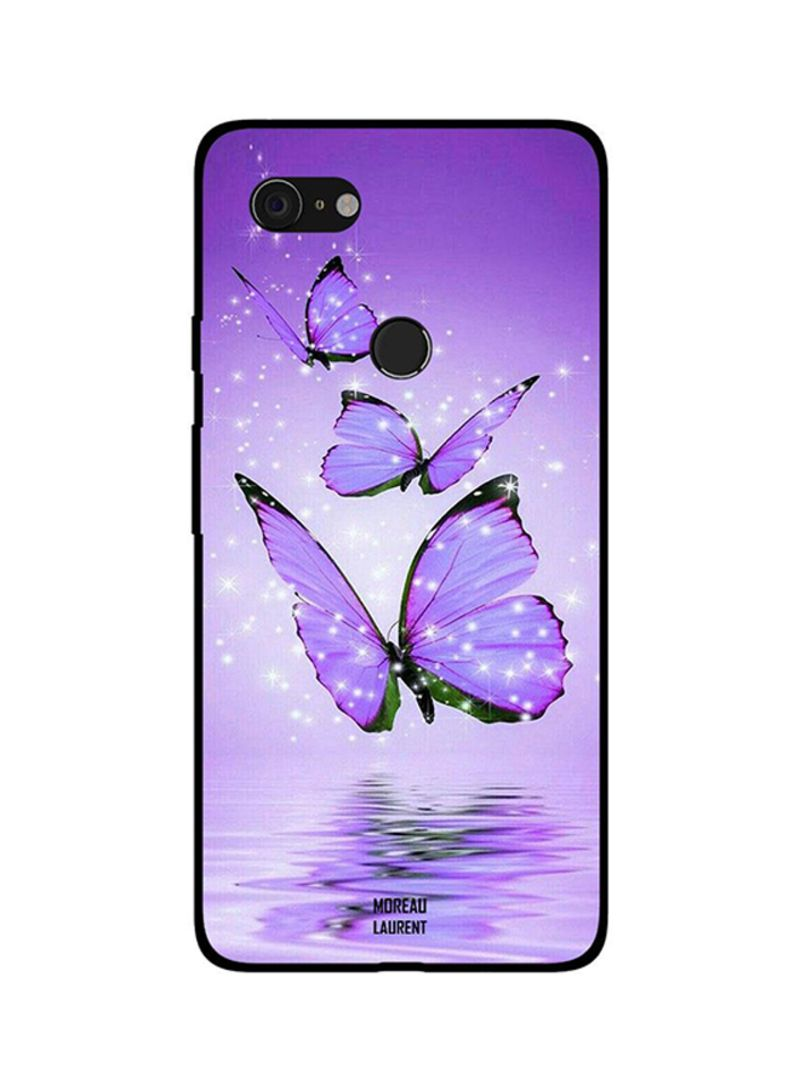 Protective Case Cover For Google Pixel 3XL Purple Butterflies on Water