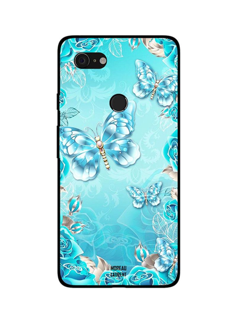 Protective Case Cover For Google Pixel 3XL Water Blue Color Butterfly