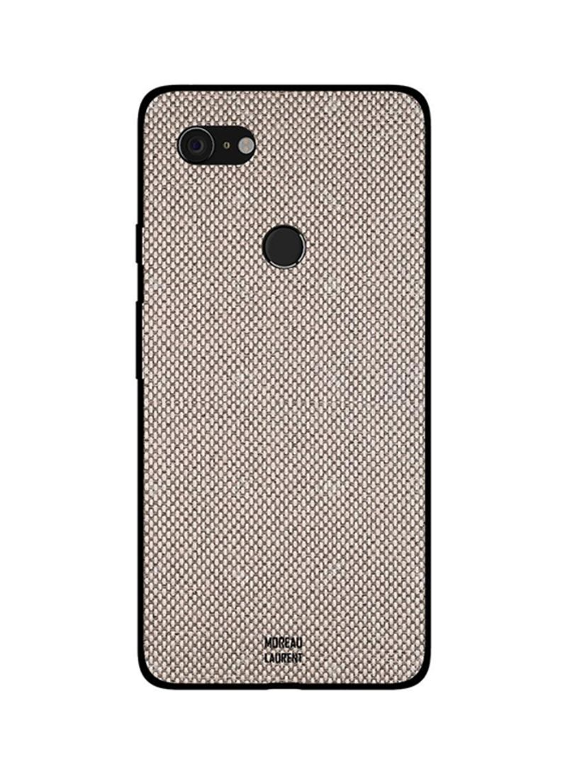 Protective Case Cover For Google Pixel 3XL Cream Fabric Thread Pattern