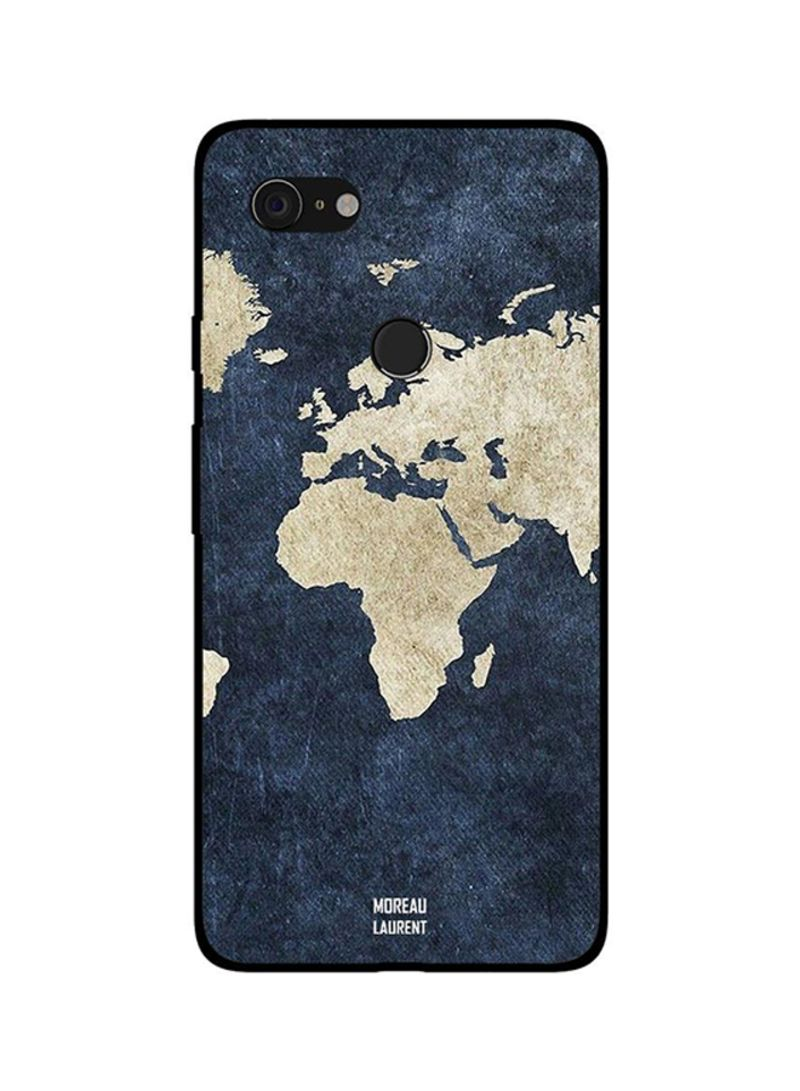 Protective Case Cover For Google Pixel 3XL Map on Jeans Pattern