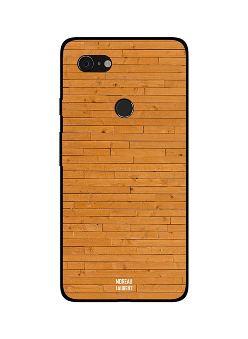 Protective Case Cover For Google Pixel 3XL Orange Bricks Design Wooden Pattern