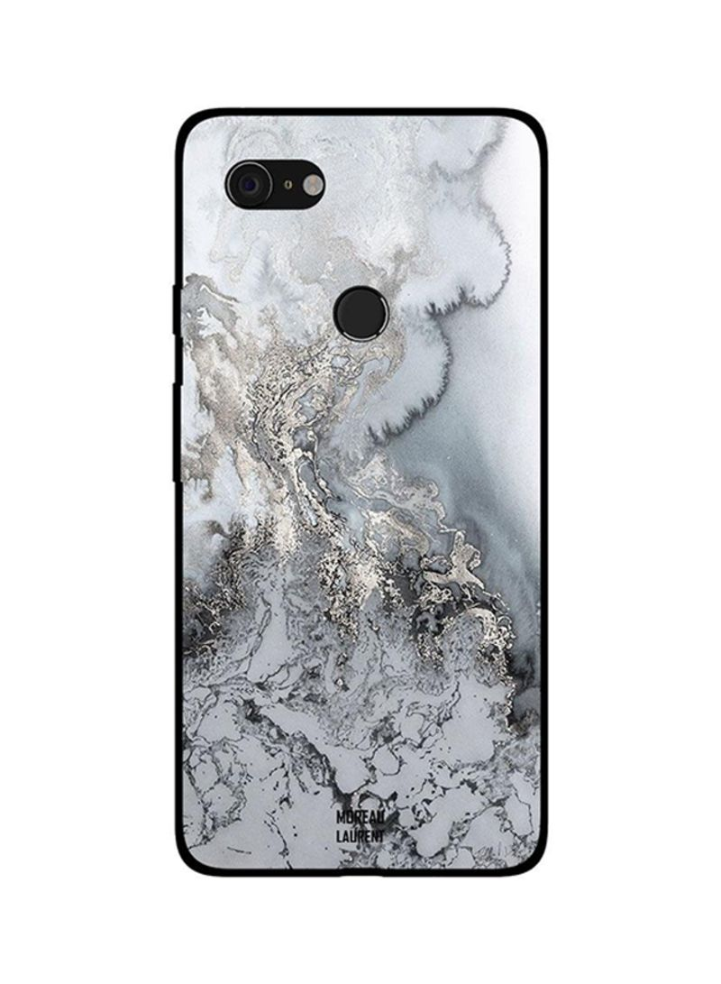 Protective Case Cover For Google Pixel 3XL White Water & Snow Pattern