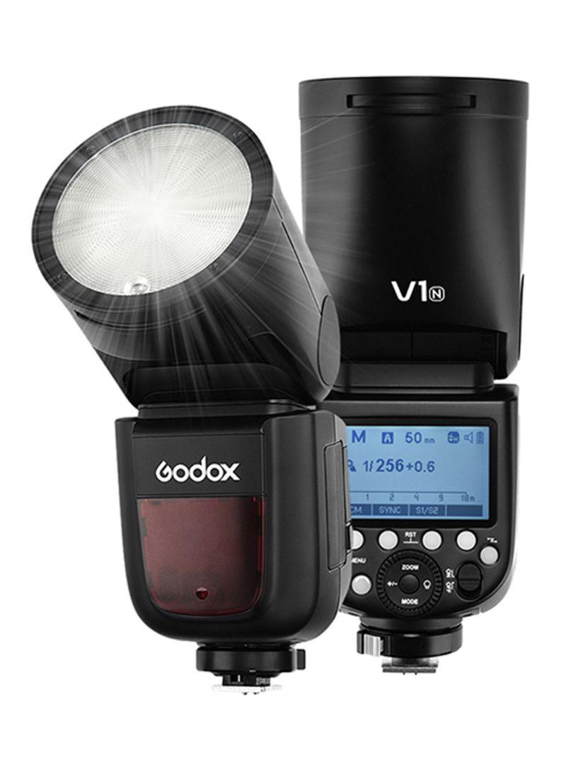 Godox V1N Professional Camera Flash Speedlite Speedlight Round Head Wireless 2.4G Fresnel Zoom for Nikon D5300 D750 D850 D7100 Z7Cameras Camcorder for Wedding Portrait Studio Photography Black
