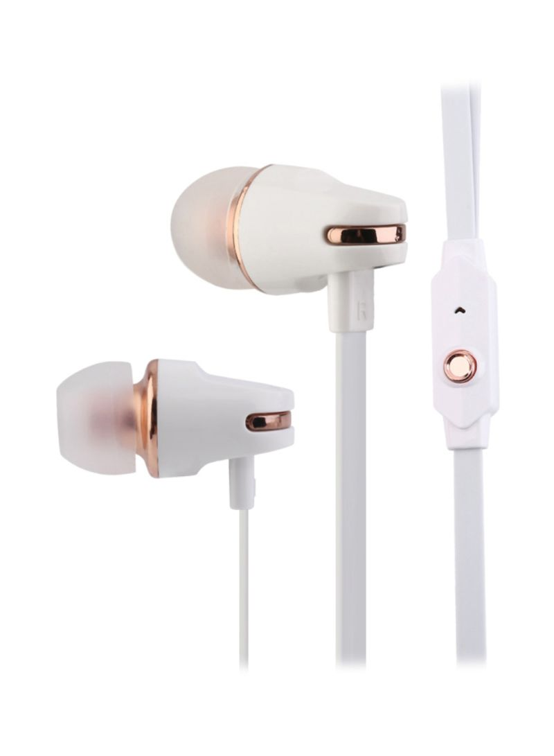 Super Bass 3.5mm In-Ear Earphone With Mic White/Gold 1.2 meter