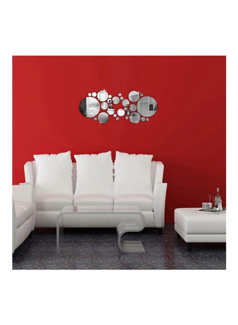 30-Piece Mirror Wall Sticker Silver 8.2x3.3 centimeter