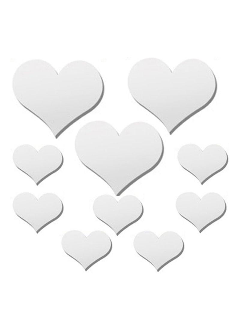 3D Mirror Heart Wall Sticker Silver 50x70
