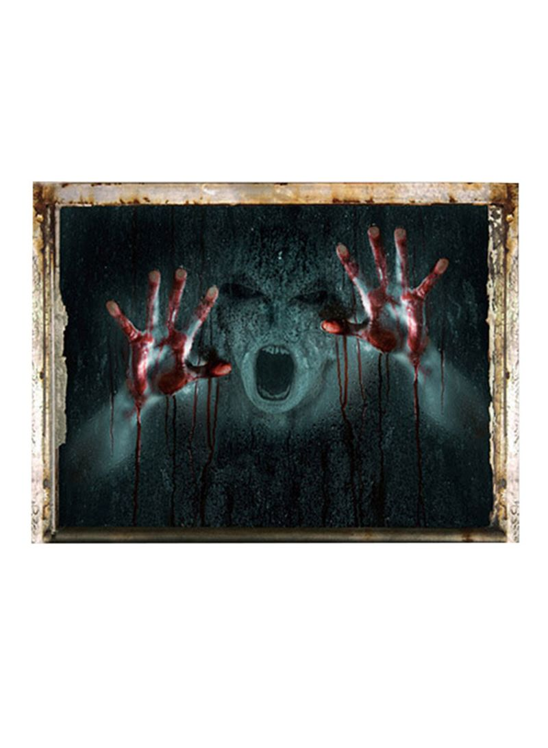 3D Ghost Haunted House Halloween Wall Sticker Multicolour 50x70