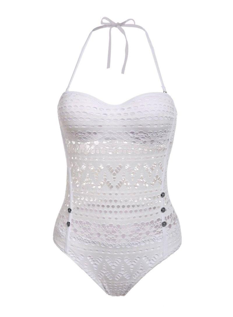 Crochet Lace Padded Swimwear White