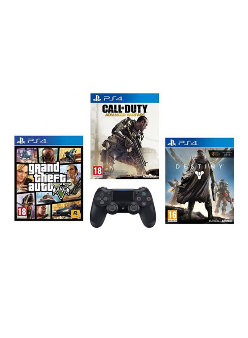 of 3 Games: Grand Theft Auto 5, Call Of Duty: Advanced Warfare And Destiny + DualShock 4 Wireless Controller  - PlayStation 4