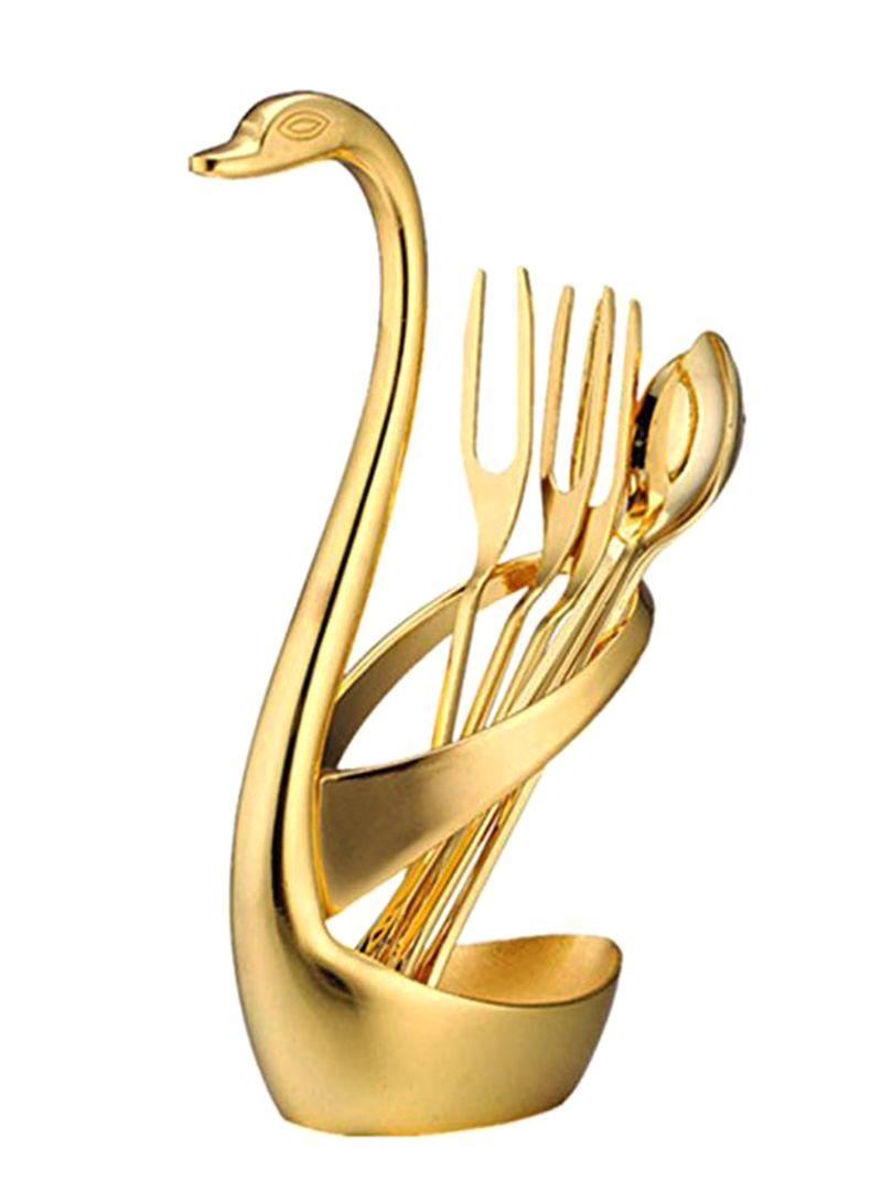 7-Piece Swan Base Dinnerware Set Gold 5 x 15.5 centimeter