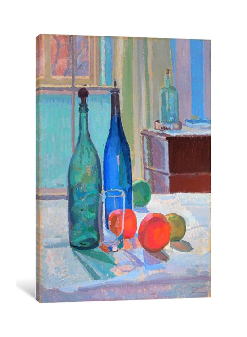 Blue and Green Bottles and Oranges Canvas Print Wall Art Multicolour 50x33x3.5 centimeter