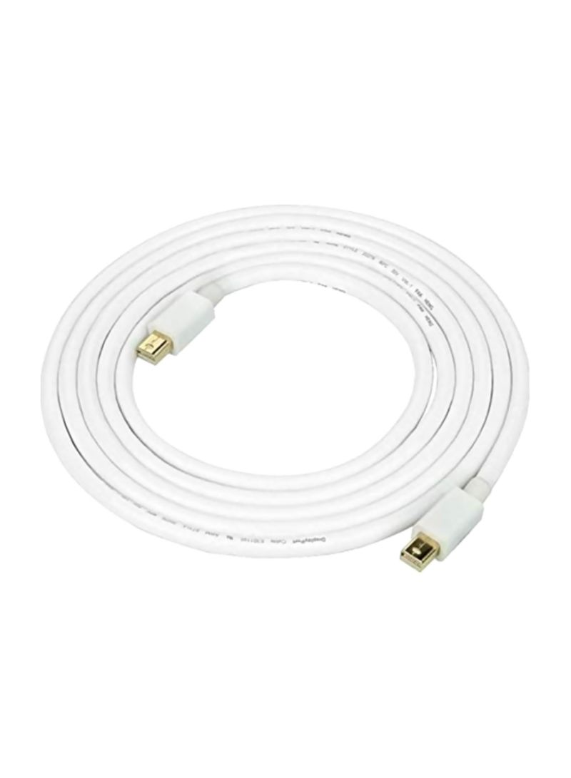 24K Gold Plated Mini Display Port Cable White/Gold 2 meter
