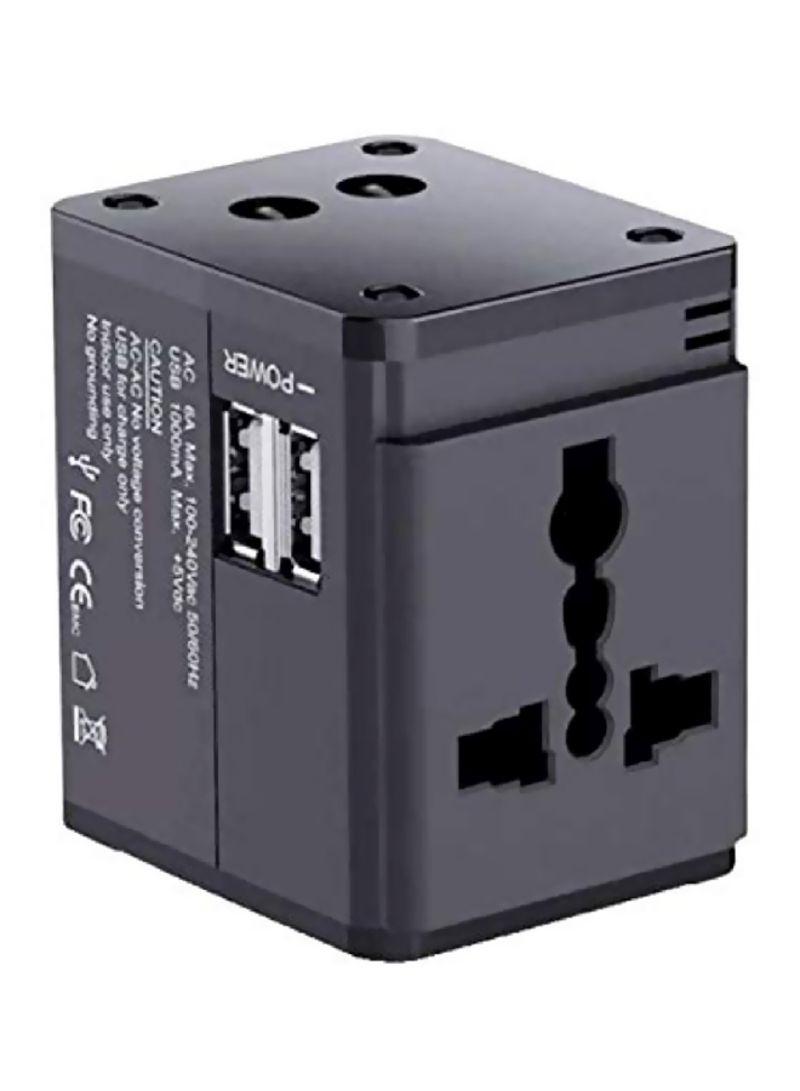 2 USB Adapter Mcdodo Universal Travel Charger UK/EU/US/AU Plugs Black
