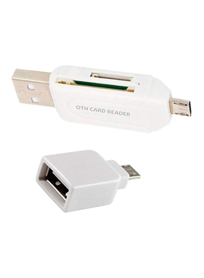 2-Piece USB OTG Host Adatper And Card Reader Set White
