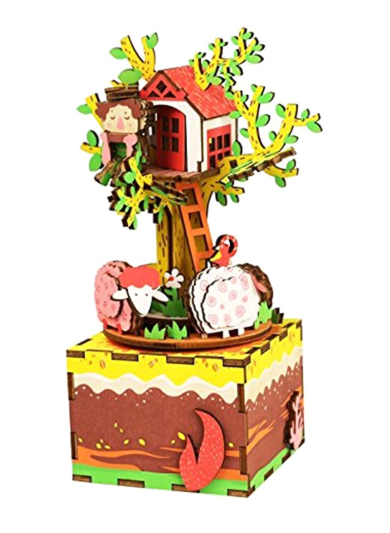 DIY Craftable Build Your Own Wood 3D Puzzle Tree House Music Box